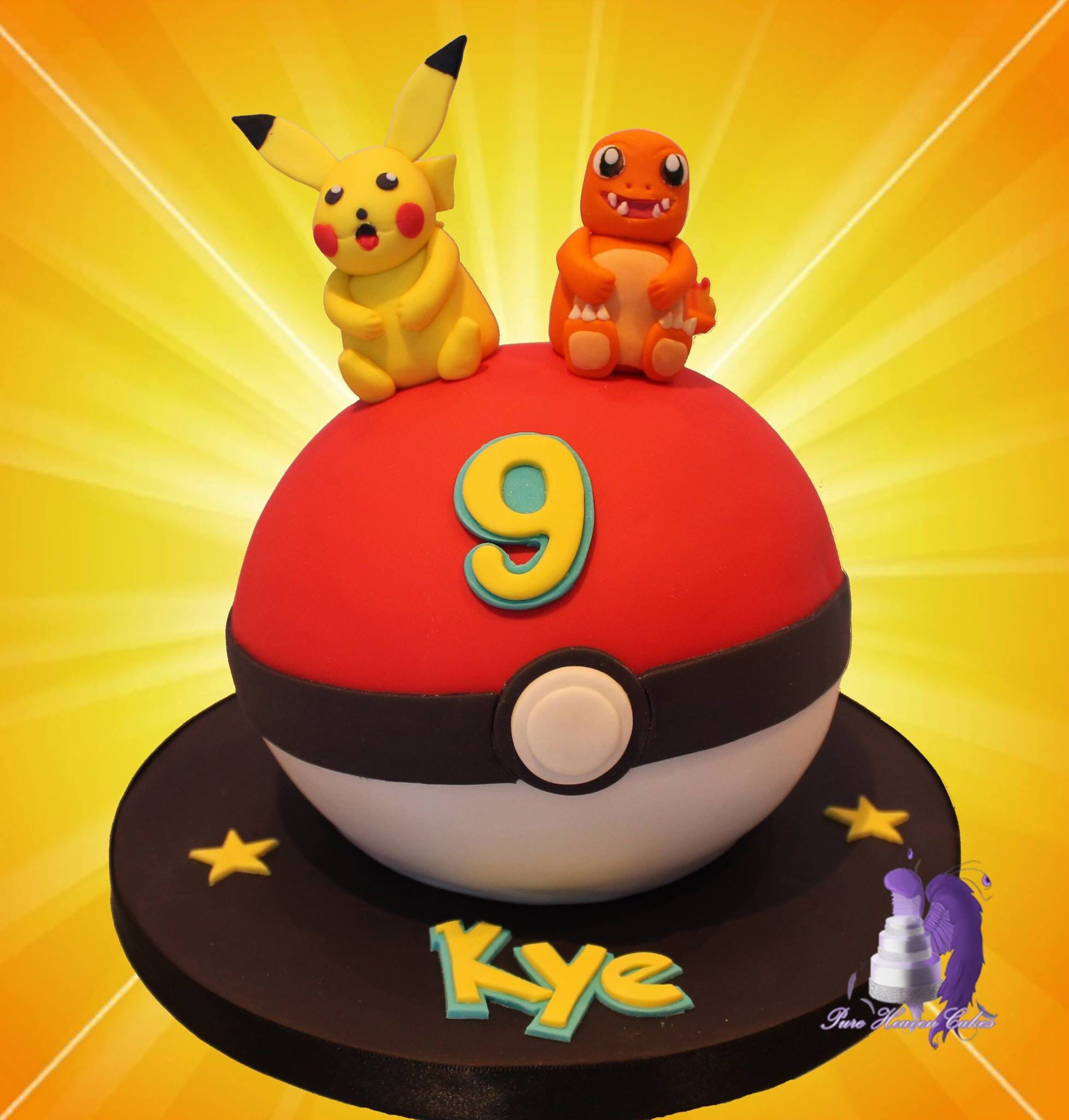 Awe Inspiring Pokemon Cake Featuring Pikachu And Charmander With Images Funny Birthday Cards Online Alyptdamsfinfo
