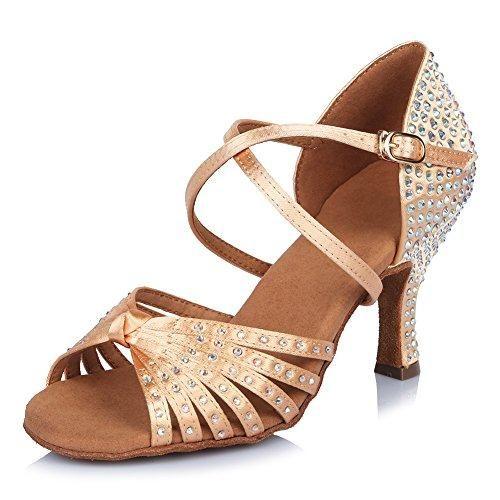 Minitoo - Zapatillas de danza de Satén para mujer, color negro, talla 36