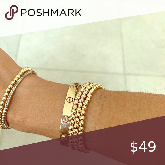 14 k gold filled beaded bracelet 2 mm 3 mm or 4 mm