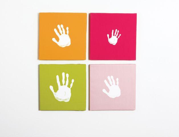 4 farbige leinw nde inkl fingerfarbe eine wundervolle geschenkidee zum verewigen der. Black Bedroom Furniture Sets. Home Design Ideas