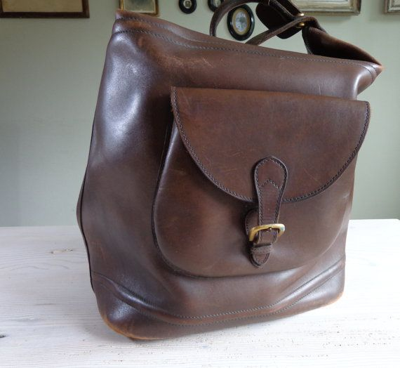 SOLD Vintage brown leather travel bag 1940s 1950s brown by RueDeLouvain