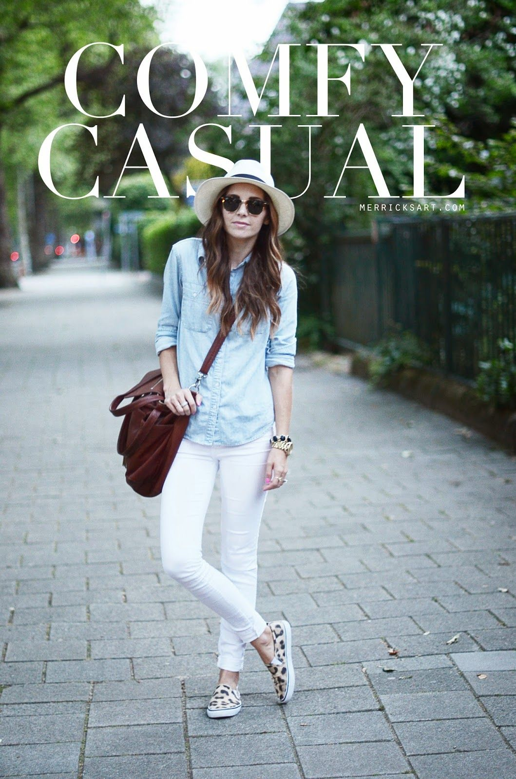 white denim, chambray, leopard sneakers