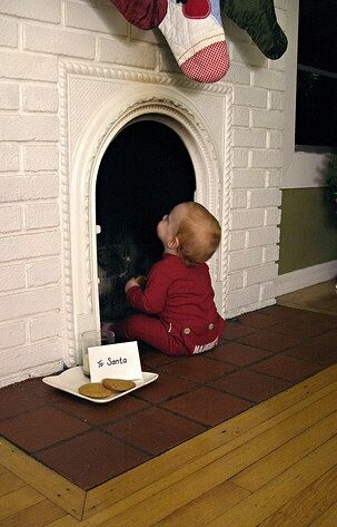 Baby Sitting On Fireplace Waiting For Santa To Come Down The Chimney/ Great  Christmas Picture/card Idea