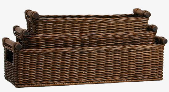 Long Narrow Pole Handle Basket 3 Sizes Shown Antique Walnut Brown I Need The Medium Which Is 19 In X 7 Wide