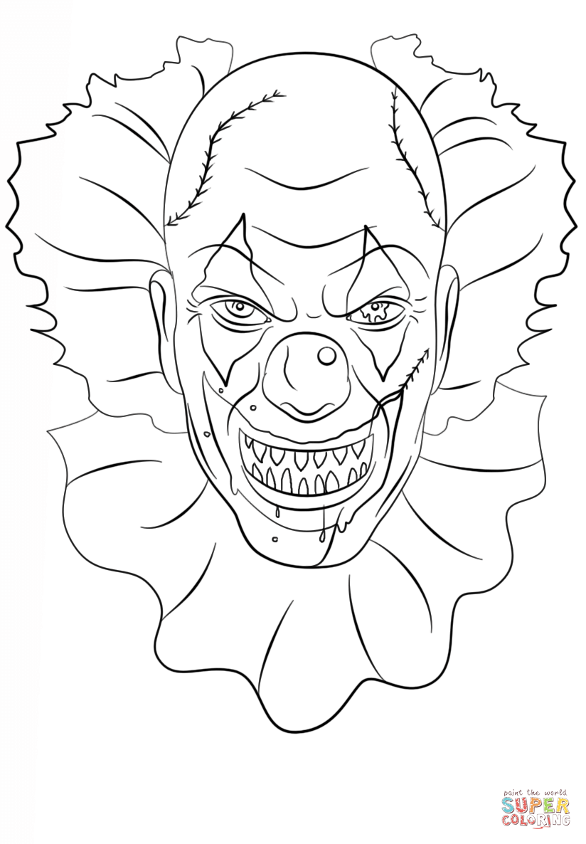 Scary Clown Coloring Page Free Printable Coloring Pages Scary Clown Drawing Scary Drawings Scary Clowns