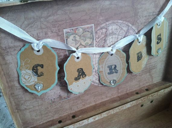 Vintage wedding card box suitcase shabby chic wedding by PineNsign, $69.95