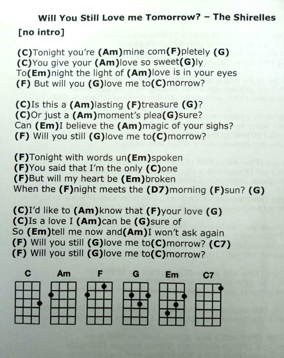 Will You Still Love me Tomorrow   Ukelele songs, Ukulele chords ...