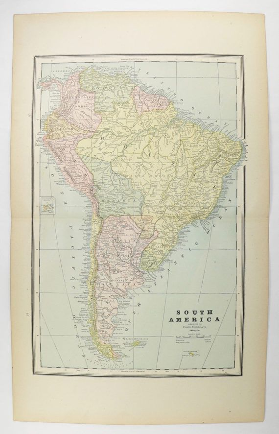 Old South America Map 1888 Antique Map South America Central