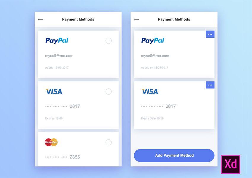 Payment Methods Free UI Kit | i1Payment Screens | Ui kit