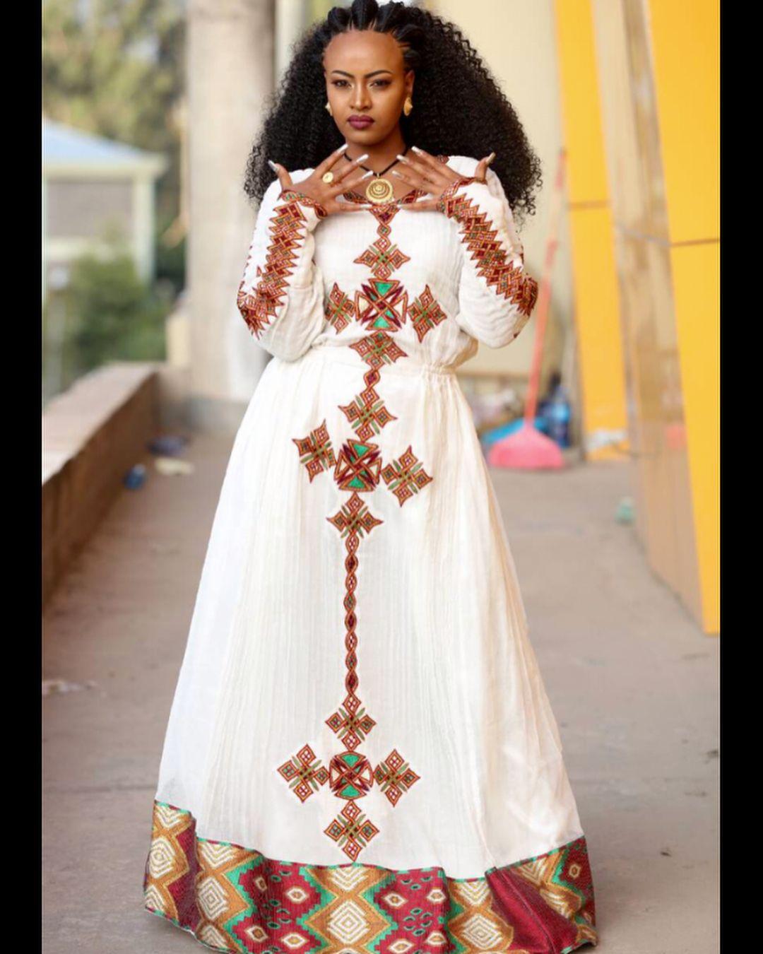 Semfurtu Habesha For Order Call On 251939179339 Or 251945511870 Model Luam Tedros Makeu Ethiopian Traditional Dress Ethiopian Clothing Traditional Dresses