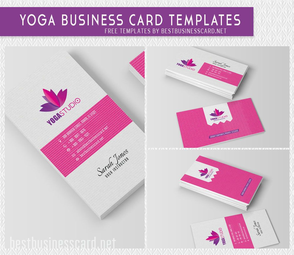 Yoga Business Cards: Free PSD Templates. Editable business cards for ...