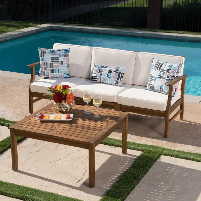 Joss Main Antonia Outdoor 2 Piece Sofa Seating Group With Cushions Reviews Wayfair In 2021 Seating Groups Wood Sofa Sofa Set