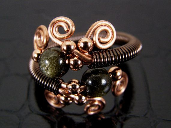 Golden Obsidian & Copper Wire Wrapped Ring Hand Crafted Original Design