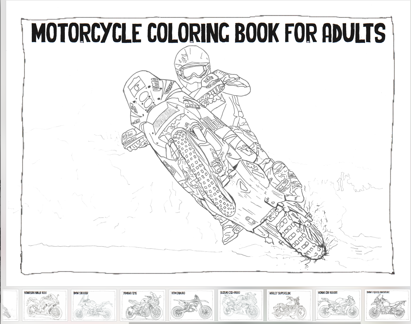 The Motorcycle Coloring Book for Adults | Mens Gift Ideas ...