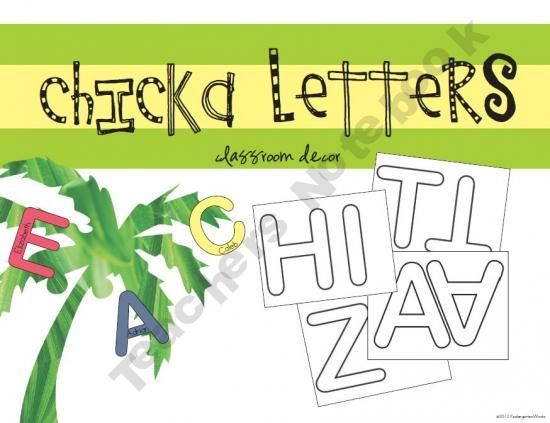 Chicka Letters for purchase- large letter outlines to print on - letter to purchase