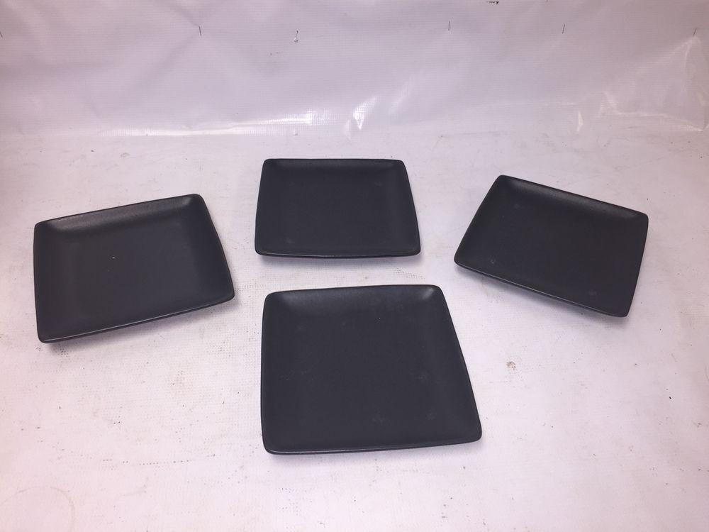 Square Black Stoneware Dinner Plates Set of 4 - Dishes Dining - Colored Plates & Square Black Stoneware Dinner Plates Set of 4 - Dishes Dining ...