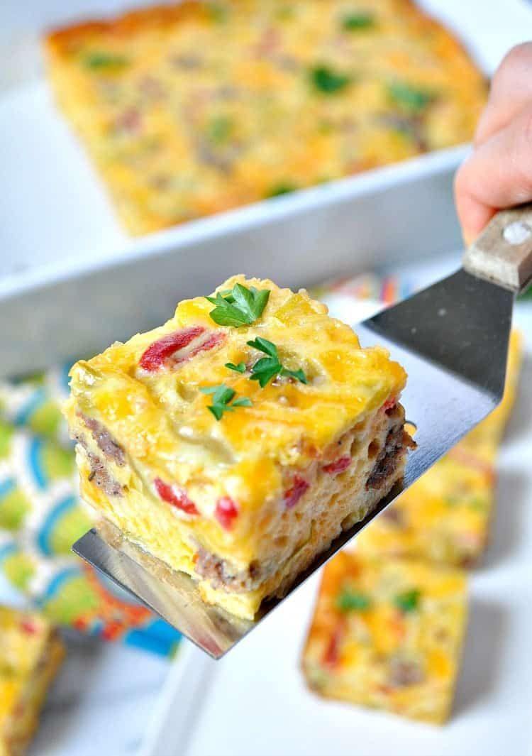 Aunt Bee's Sausage and Cheese Squares Loaded with cheese, sausage, pimento, and mild green chiles, these Sausage and Cheese Squares are an easy, make-ahead appetizer that are perfect for any occasion!