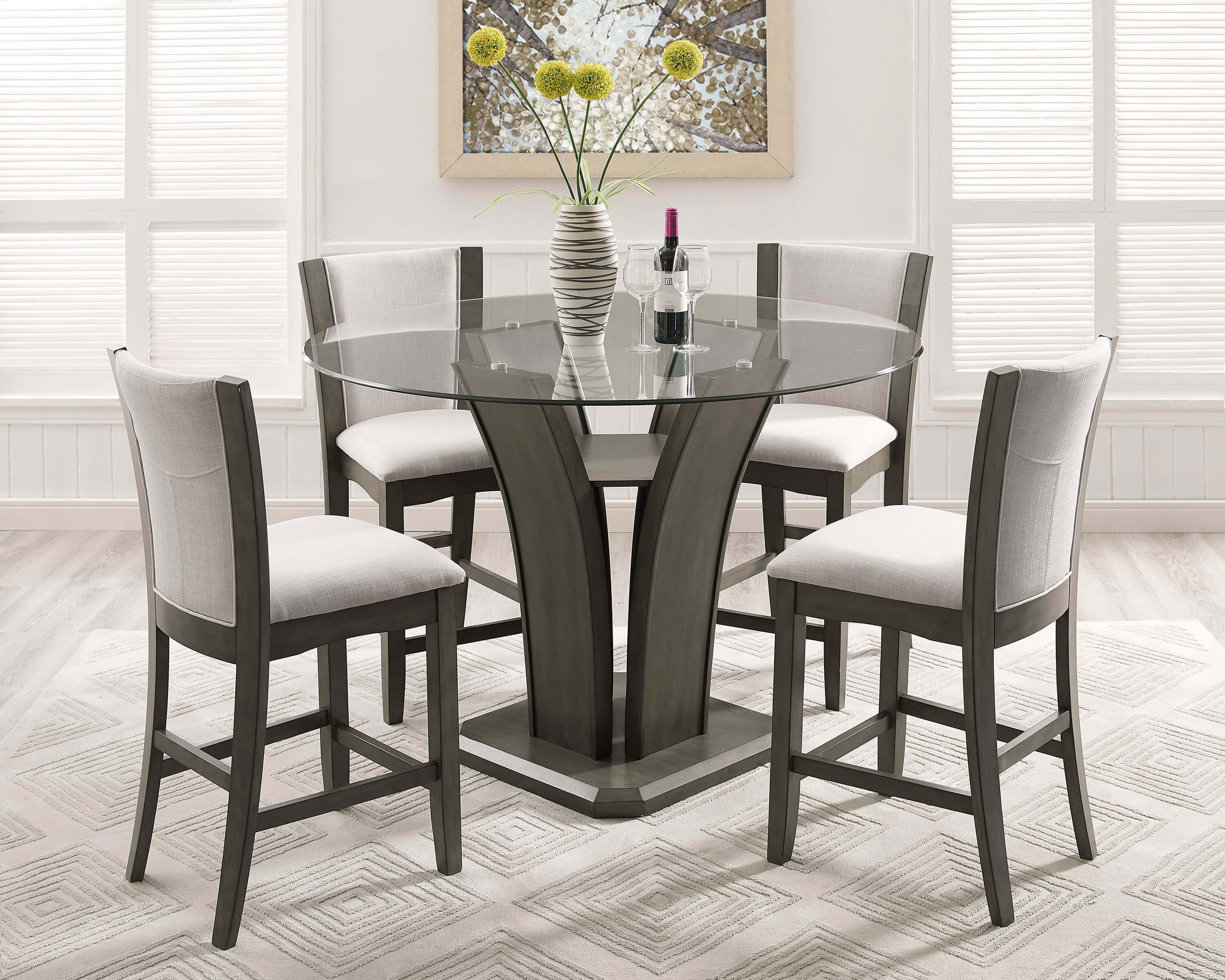 Crown Mark Camelia Grey Counter Height Glass Dining Set Counter Height Dining Sets High Dining Table Dining Table Counter height round table and chairs