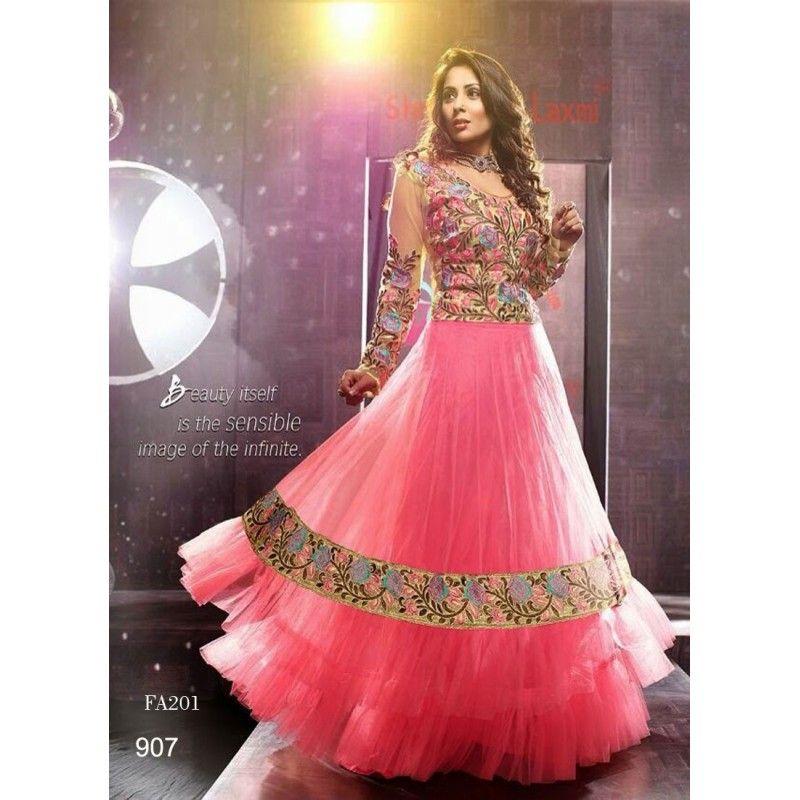 Sangeeta Ghosh Designer Pink Net Embroidered Party Wear Anarkali ...