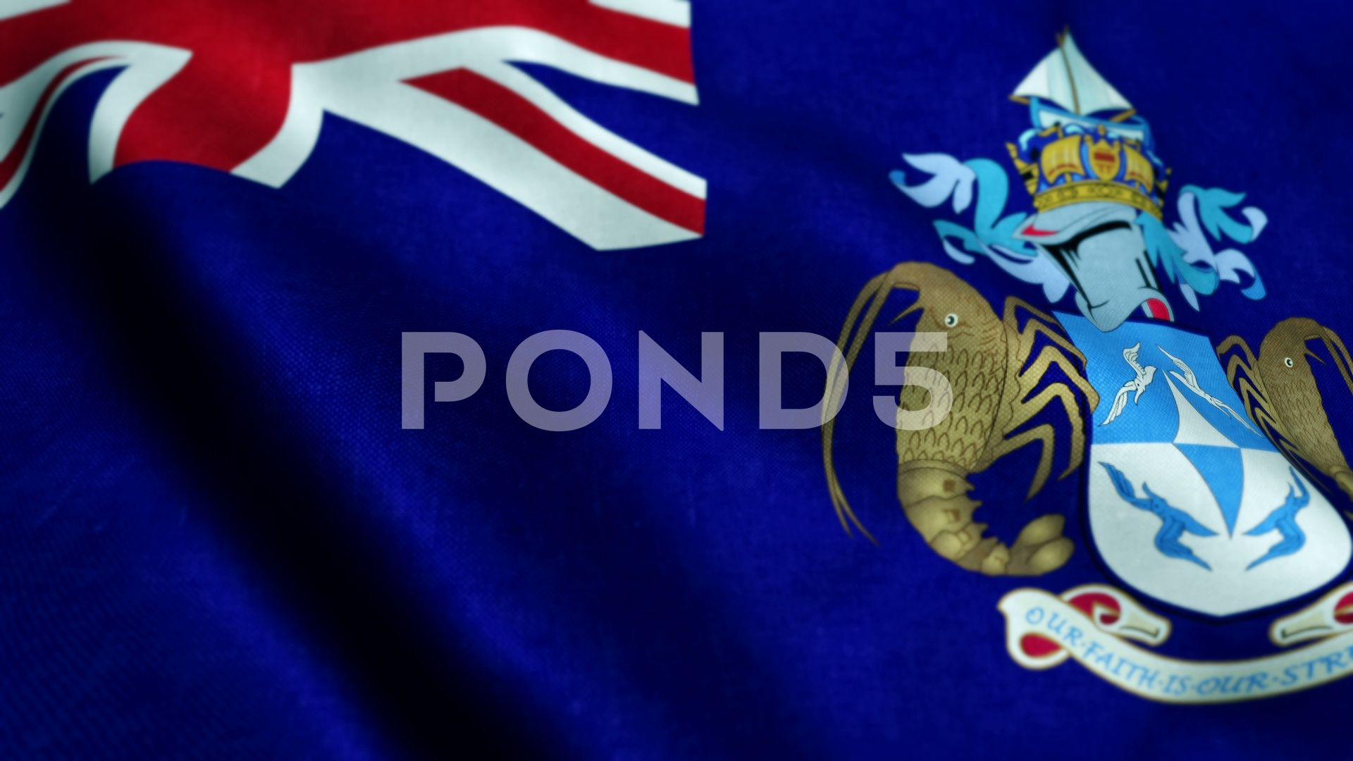 Flag Of Tristan Da Cunha Waving On Flagpole In Wind National Symbol