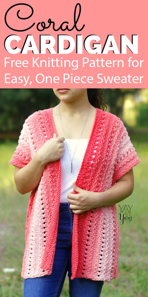 Free Knitting Pattern for Easy Coral Cardigan - Beginner ...