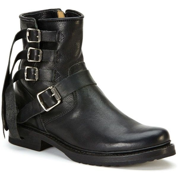 Frye Veronica Strappy Booties (€380) ❤ liked on Polyvore featuring shoes, boots, ankle booties, ankle strap booties, frye boots, low heel ankle booties, frye booties and small heel boots
