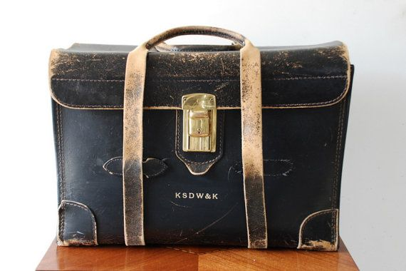 $100 Vintage Doctor or Lawyer Briefcase / Bag, Black Leather with Straps and Handle