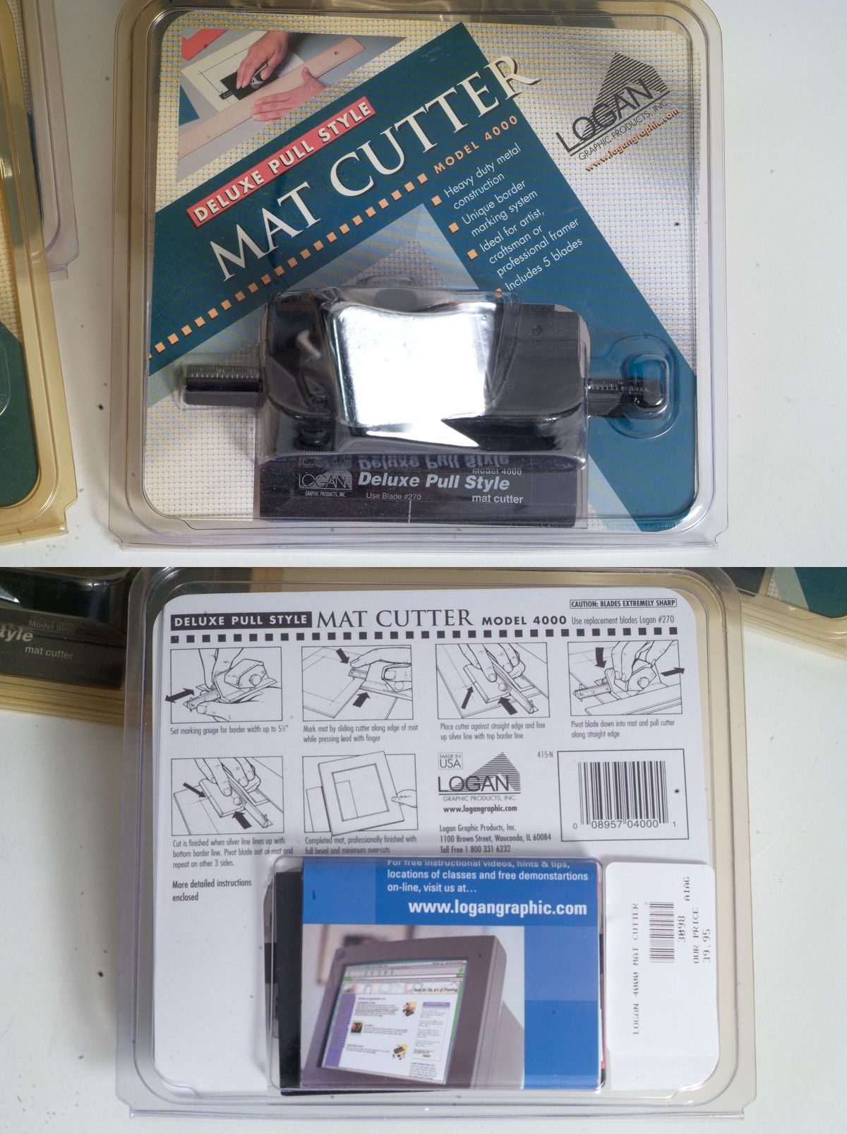 Logan Graphics 4000 Deluxe Handheld Pull Style Mat Cutter Silver