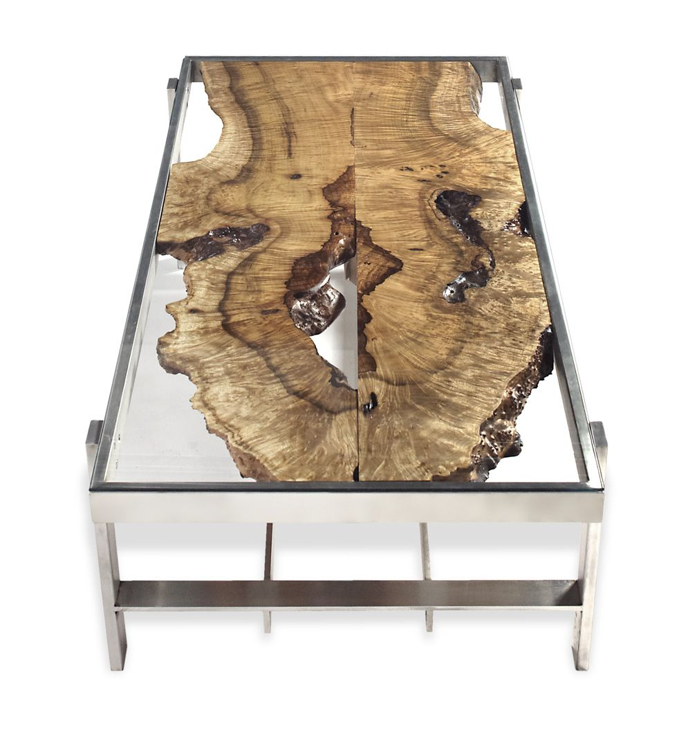 Book matched curly myrtle slabs under glass top coffee