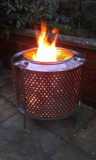 Washing Machine Drum As A Fire Pit Can Put On Bricks Or