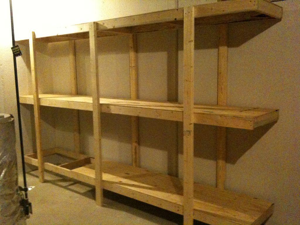 Build Easy Free Standing Shelving Unit For Basement Or Garage Basement Storage Shelves Basement Shelving Diy Storage Shelves