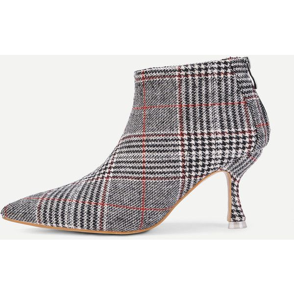 5b18f8381d88 SheIn(sheinside) Kitten Heeled Plaid Ankle Boots (1 100 UAH) ❤ liked