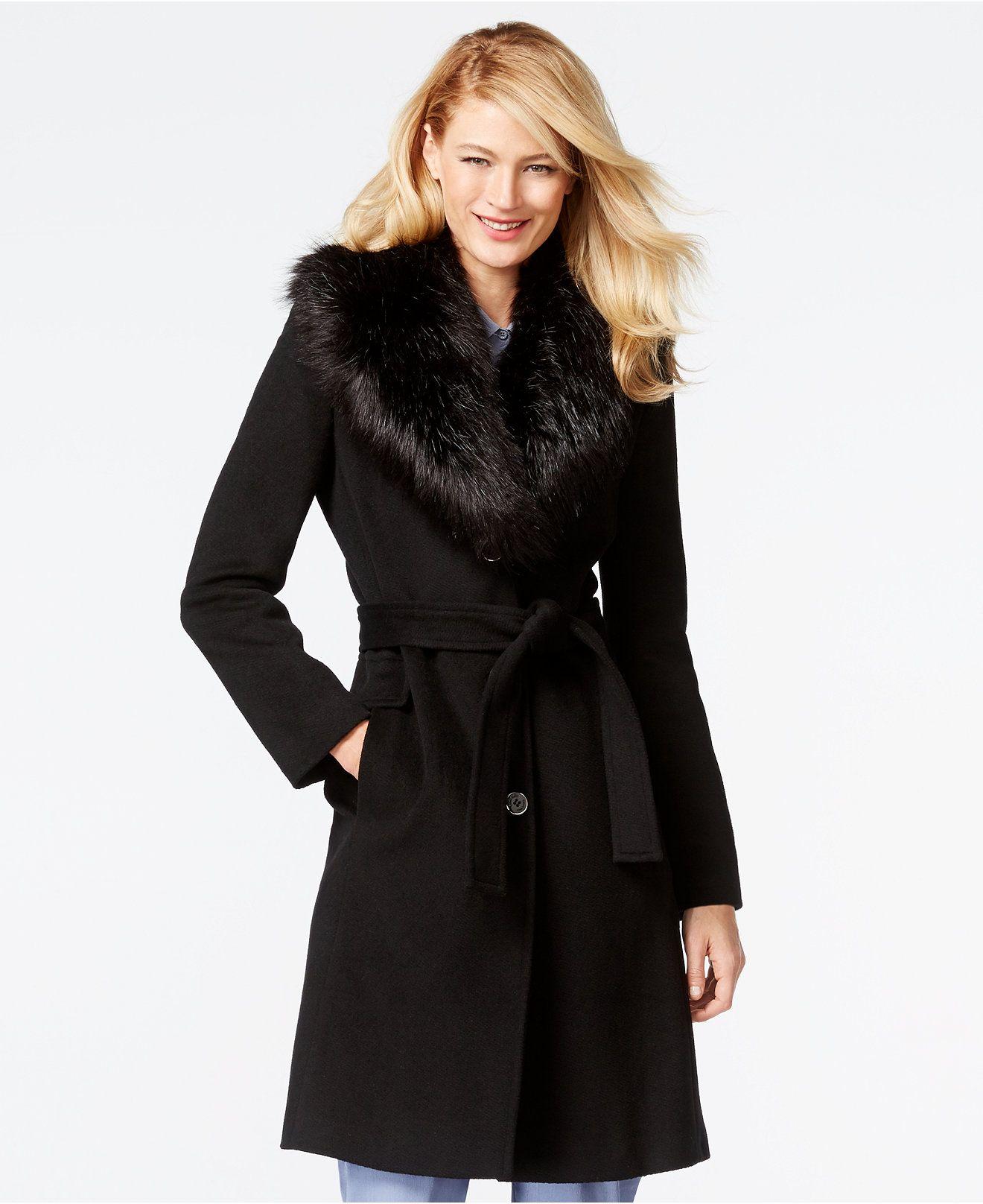 Calvin Klein Faux-Fur-Collar Walker Coat - Coats - Women - Macy's ...