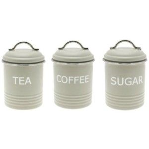 Home Sweet Retro Green Tea Coffee Sugar Canister Set