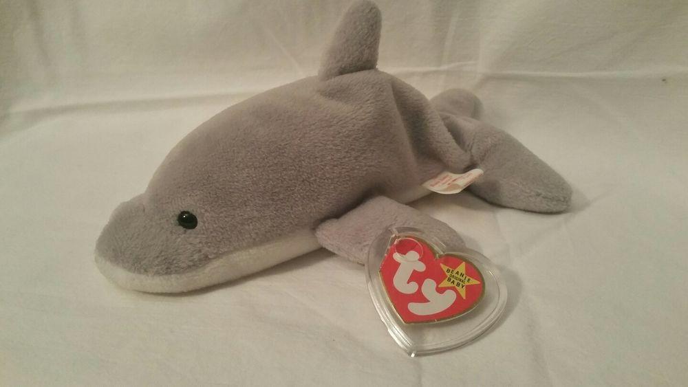 Ty Beanie Baby Babie - FLASH Dolphin Retired RARE  Ty  373089b536b