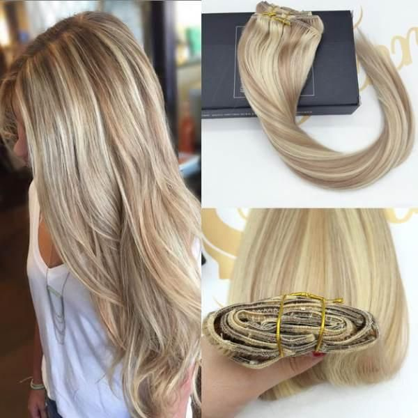 Balayage Highlighted Blonde Clip In Human Hair Extensions P18613