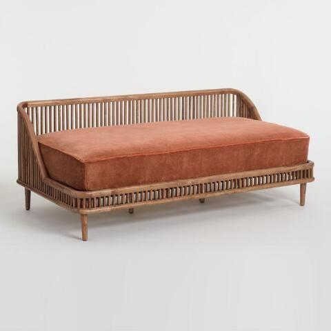 Warm Brown Mango Wood Nadya Daybed World Market Interior Design Living Room