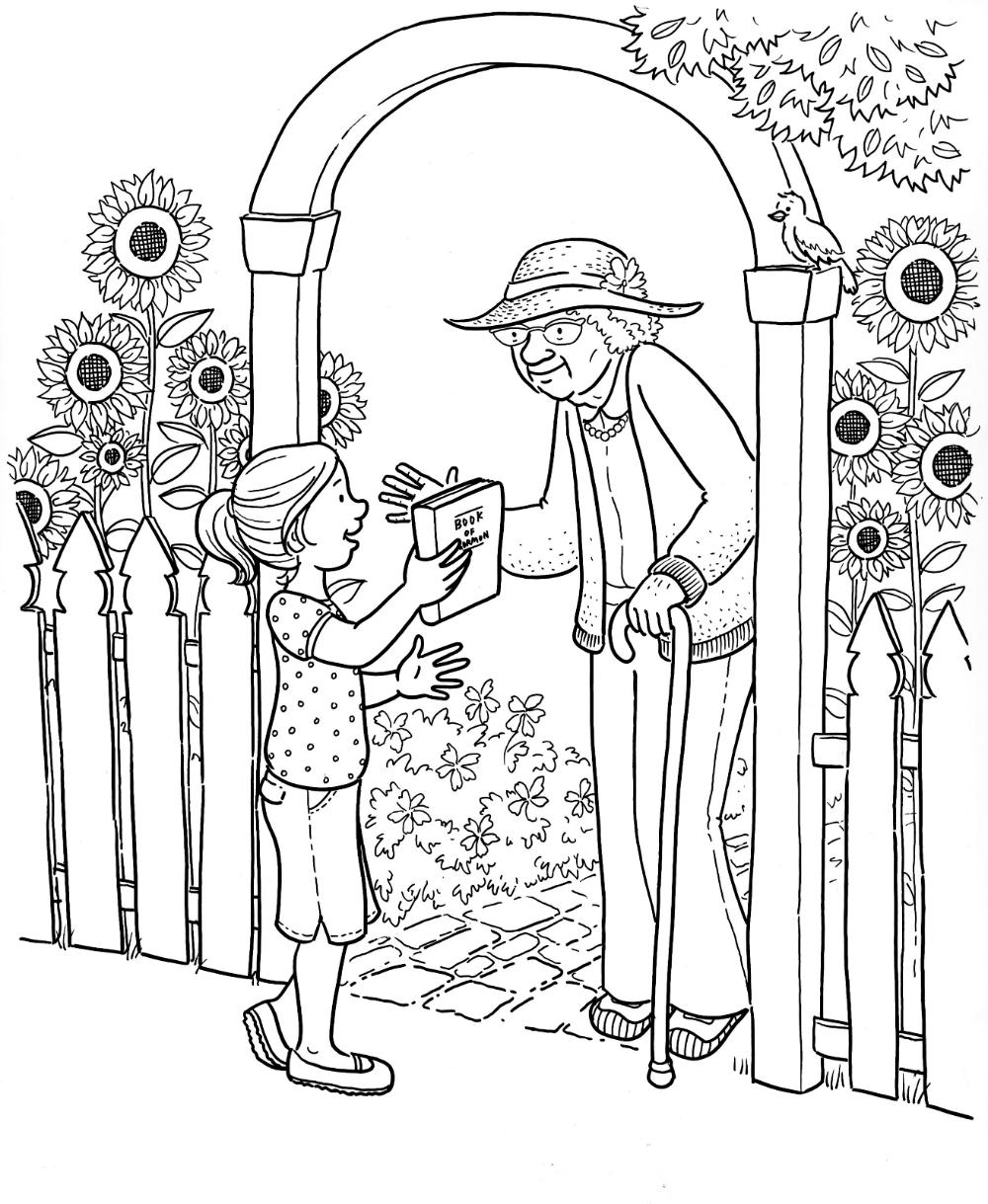 Color Page Helping Elderly Parents Google Search Coloring Pages Lds Coloring Pages People Coloring Pages