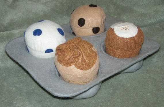 Set of 4 Felt Food Muffins with Muffin Pan by aHeartforCrafts