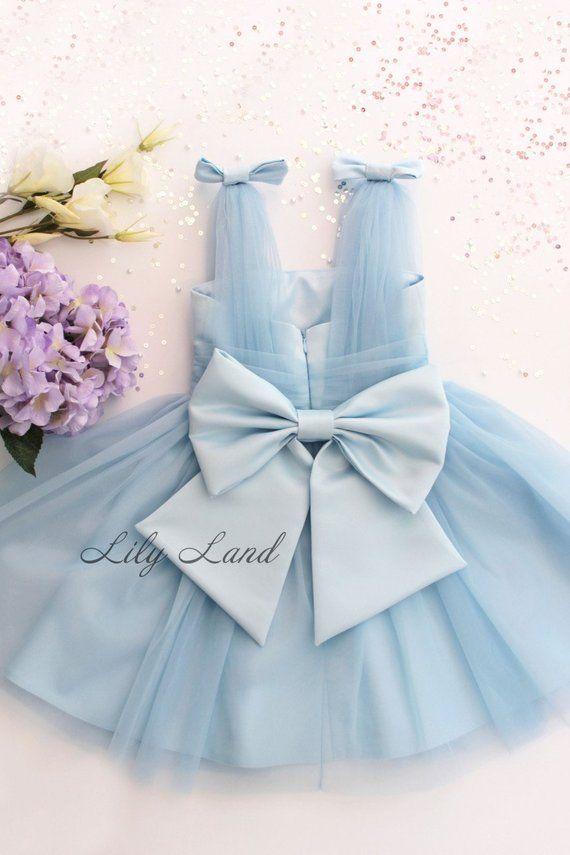 a03dc385d6c8 Blue Baby Girl Dress Stunning Tulle Infant dress Toddler Flower Girl ...