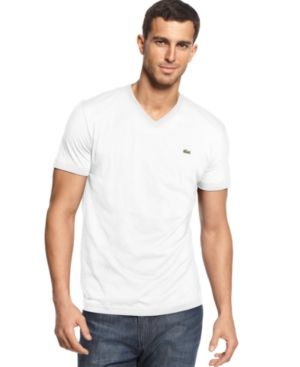 71d3f0aceb Lacoste Men's V-Neck Pima Cotton T-Shirt - White   Products   Shirts ...