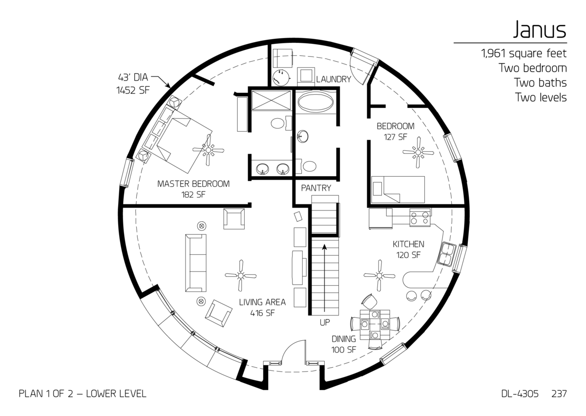 floor plan: dl-4305 | monolithic dome institute make it 50ft dia