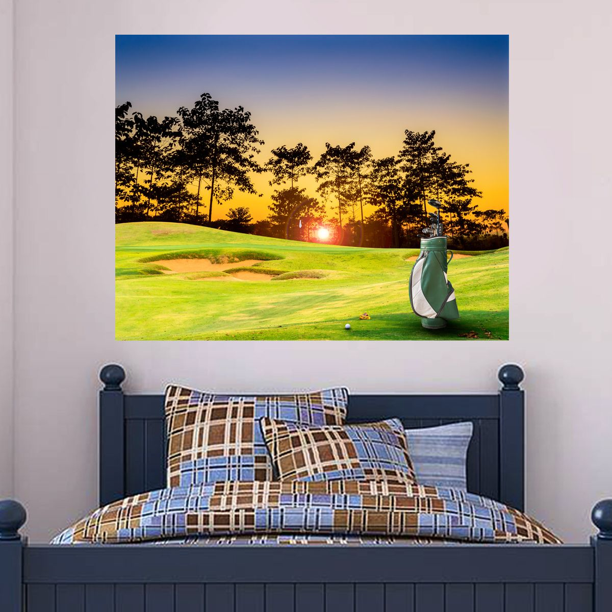 On The Green Sunset Wall Sticker, wall stickers, golf wall…   Sports ...