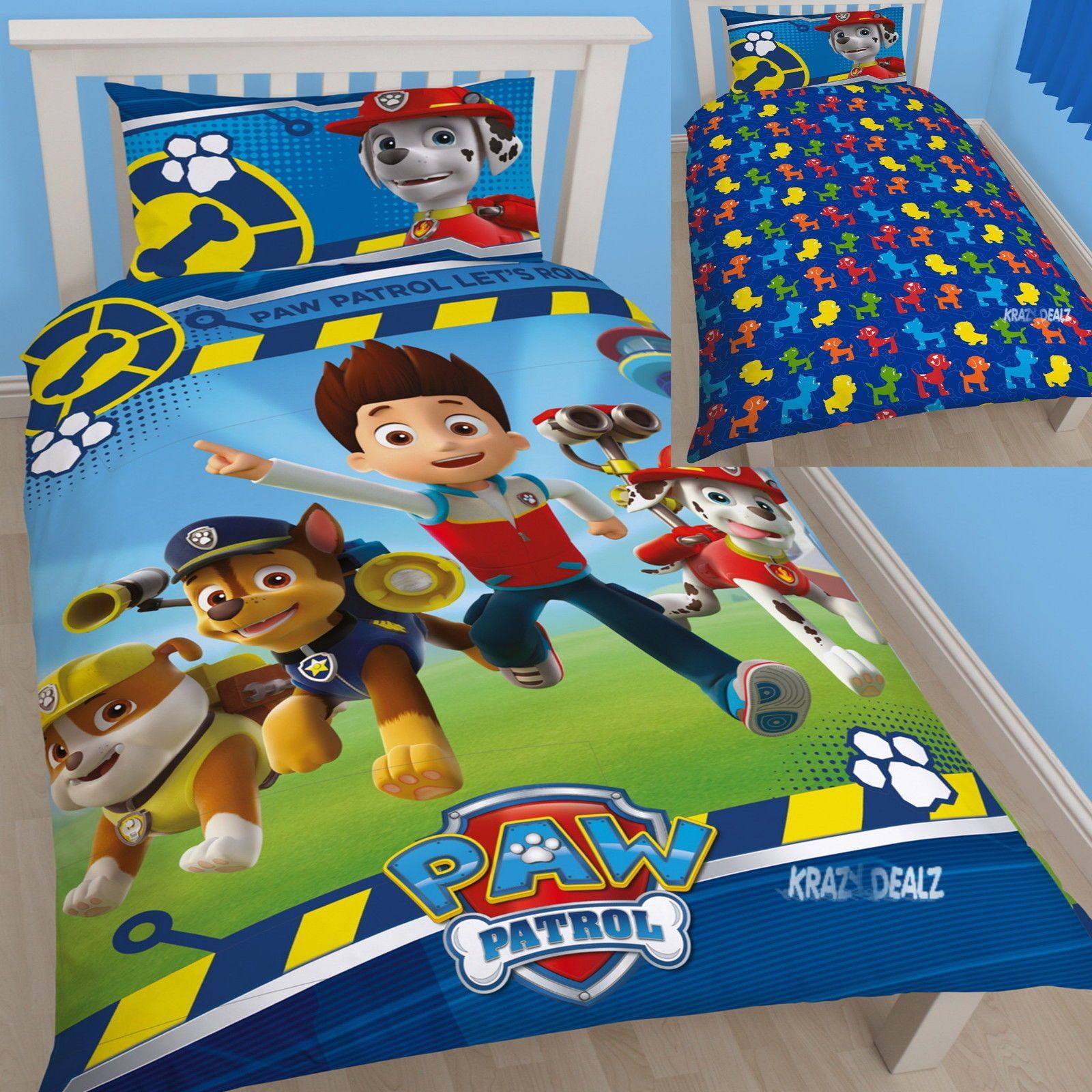 Double Sided BEDDING SET Light Blue NEW Paw Patrol Rescue Dogs