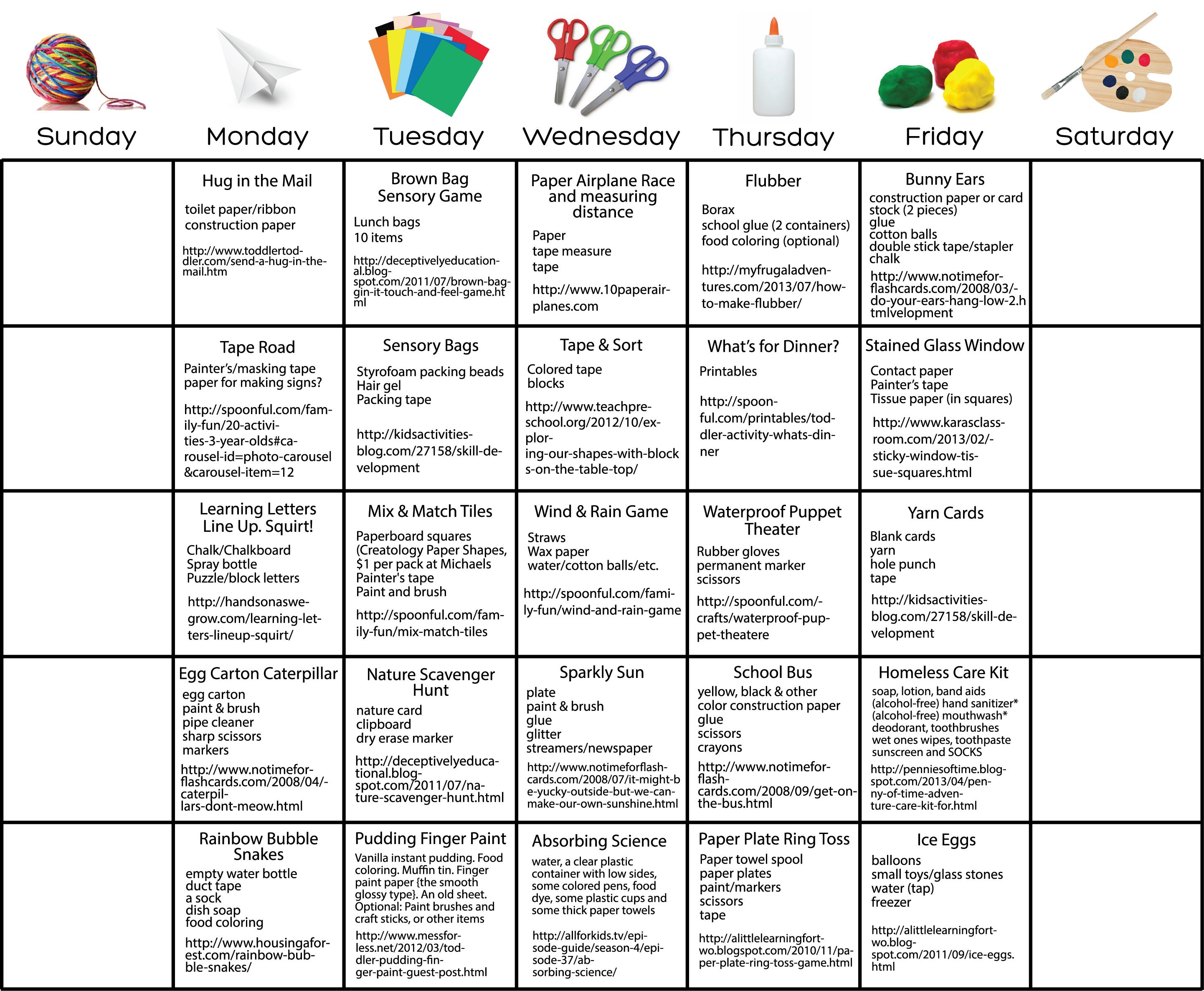 Daily Activity Calendar For Kids Toddler Early Preschool
