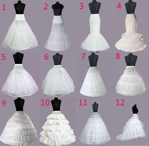 12 Style White A-Line//Mermaid Wedding Crinoline Petticoat Underskirt Fancy Skirt