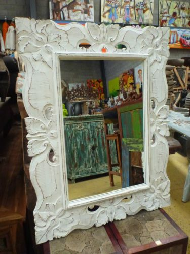 French Provincial Mirror Hand Carved Timber White Wash 90cm X 70cm Vintage In Melbourne Vic Ebay