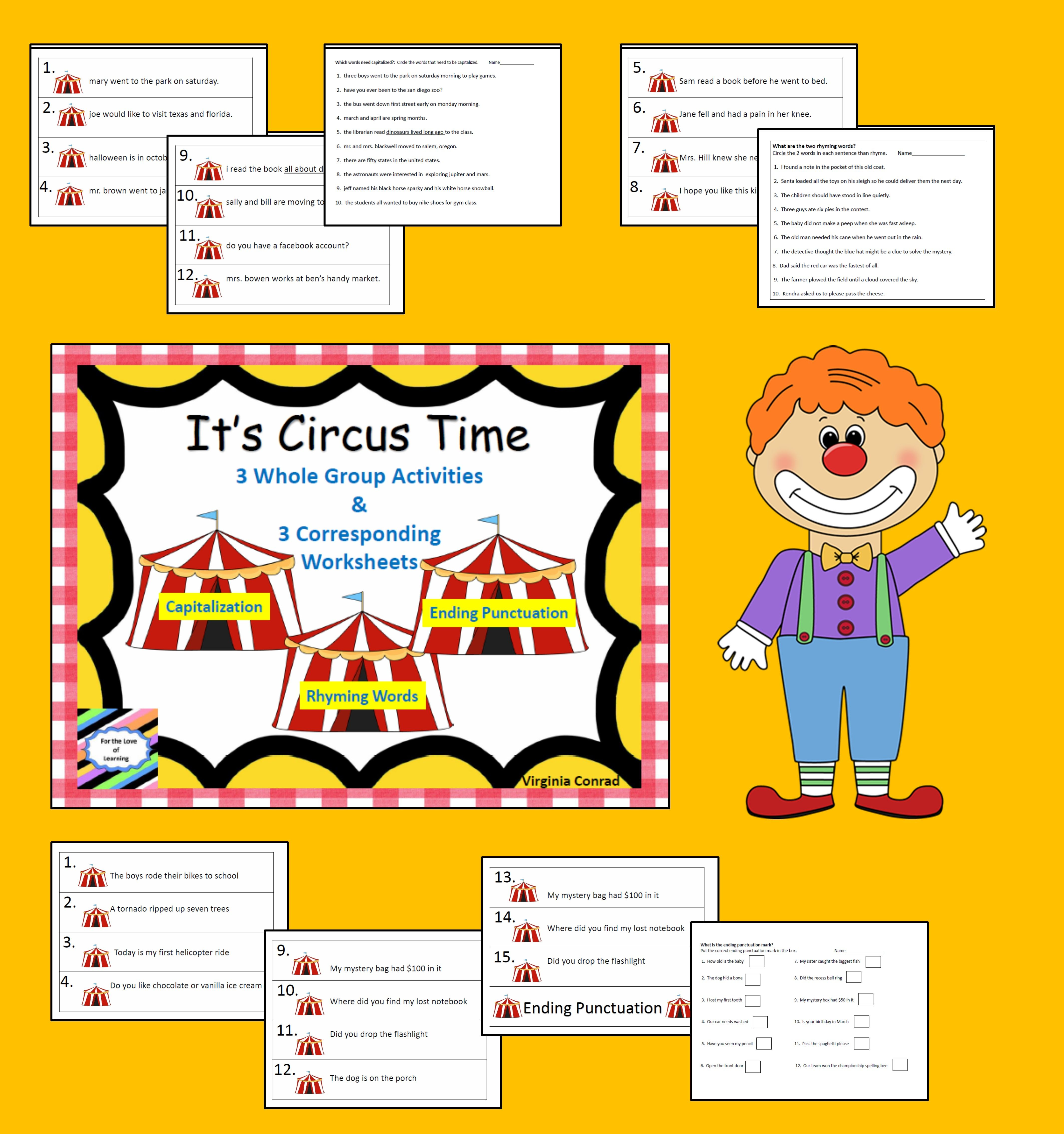 Whole Group Reading Activities Amp Worksheets Circus Theme