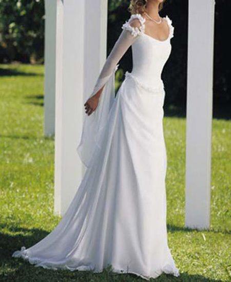 vestido+de+novia+manga+larga+flores+elegante+corte+recto+gasa+verano