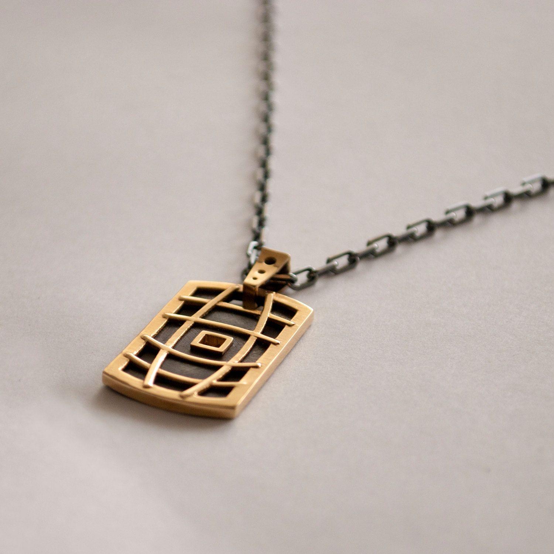 Dogtag 14K Gold Pendant 14K Gold Necklace Mens pendant solid